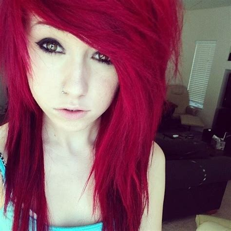 emo hairstyles for redheads red and purple scene hair www pixshark com images