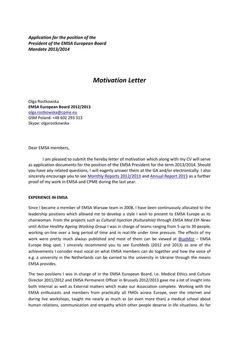 Motivation Letter For Mun Motivation Letter Emsa Presidency 2013 2014 Olga Rostkowska By Emsa Europe Issuu