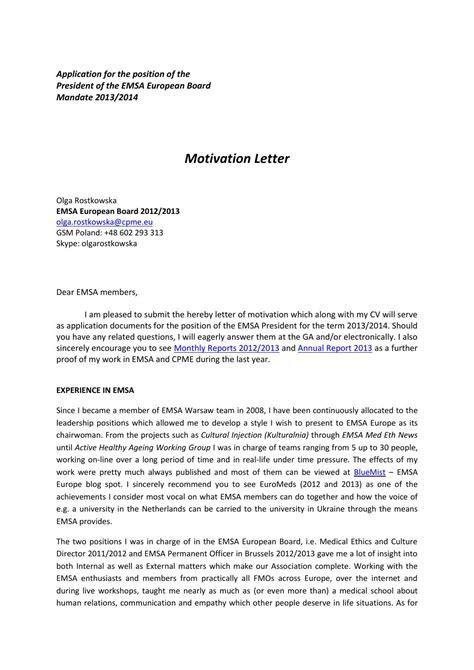 motivation letter emsa presidency olga