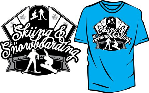 skiing  snowboarding  vector design  tshirt