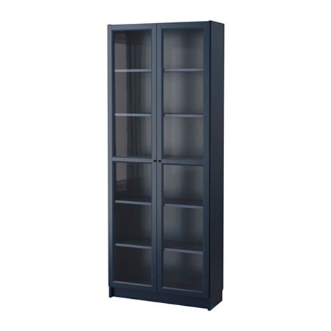 How To Build A Bookcase With Glass Doors Billy Bookcase With Glass Door Blue 80x30x202 Cm Ikea