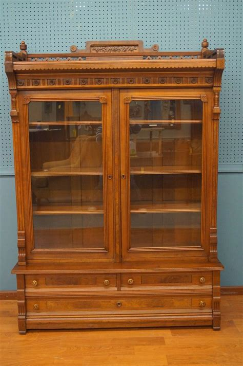 Eastlake Bookcase Mid 1800 S Eastlake Period 2 Piece Walnut Bookcase With