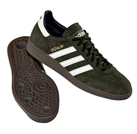 mens adidas spezial dark olive green leather casual trainers shoes sneakers ebay