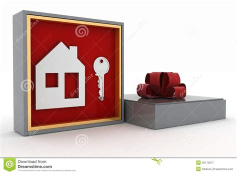 house gift key and symbol of house in gift box stock illustration
