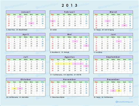 Kalender 2013 Indonesia, lengkap dengan libur nasional