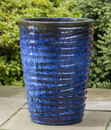 blue planter pin by garden fountains on glazed and ceramic planters