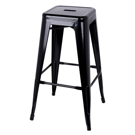 Set Of 2 Steel Kitchen Bar Stool 76cm Black | set of 2 steel kitchen bar stool 76cm black