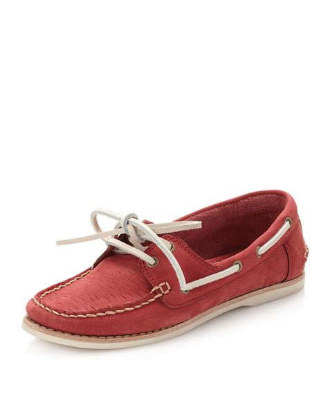 frye boat shoes review frye quincy boat shoe red in red for men lyst
