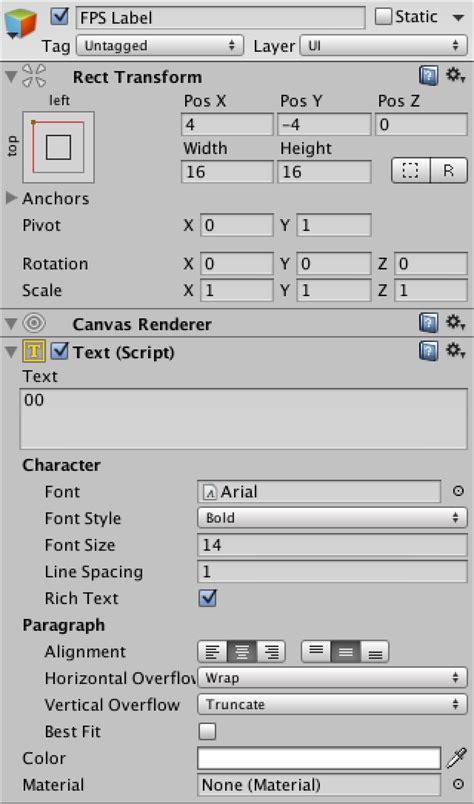 unity layout label frames per second a unity c tutorial