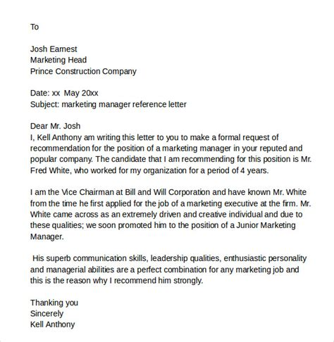 Letter Of Recommendation Marketing sle reference letters 6 free documents in