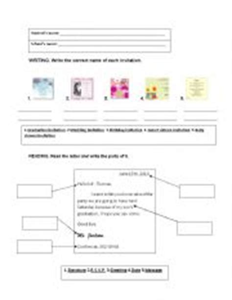 Invitation Letter Worksheet types of invitations and parts of a letter