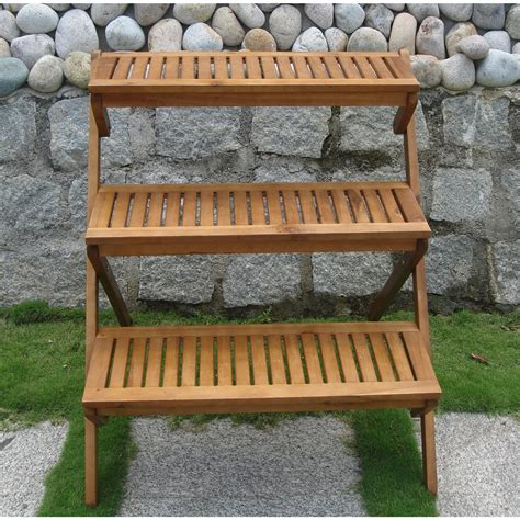 Planter Stand Outdoor 3 tier planter stand in teak wood for outdoor or indoor use aquagarden aquaponics systems