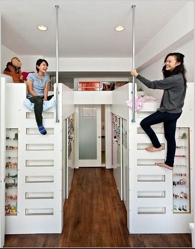 loft bed with closet space underneath for the home