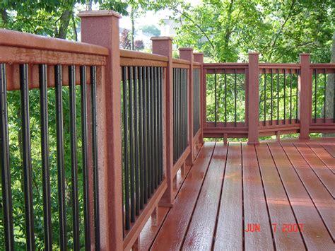 metal porch railing moisture shield decking with custom railing metal