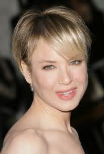 Short boy cut with bangs for round faces renee zellweger short