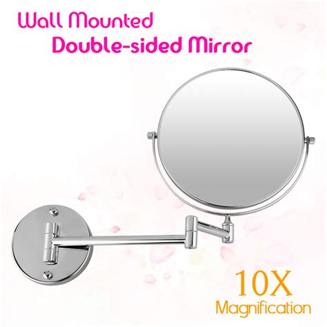 side extending chrome wall mounted 10x magnifying