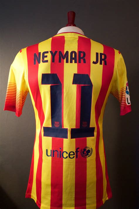 Tees Barcelona Desain Kode Barca 20 neymar jr used unwashed 11 fc barcelona away shirt 2013 14 la liga debut season at