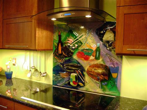colorful abstract kitchen backsplash tile