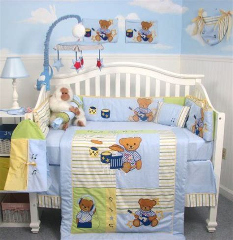 Rock And Roll Teddy Bear Themed Bedding Set Big Belly Rock And Roll Crib Bedding