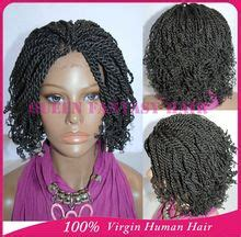 tied weave styles full hand tied short kinky twist braided lace front wigs