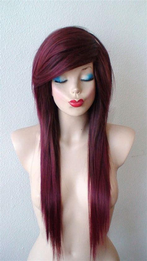 emo hairstyles burgundy 17 best images about wig out on pinterest long side