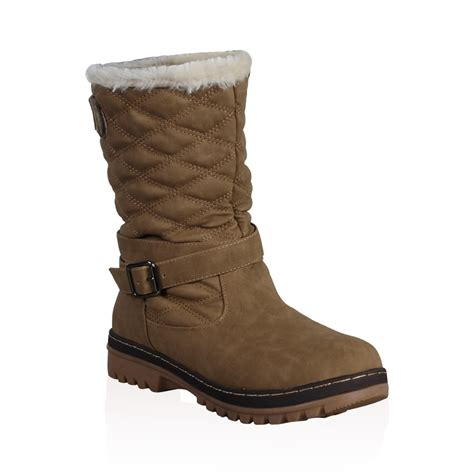 dd15 womens quilted faux fur grip sole winter snow