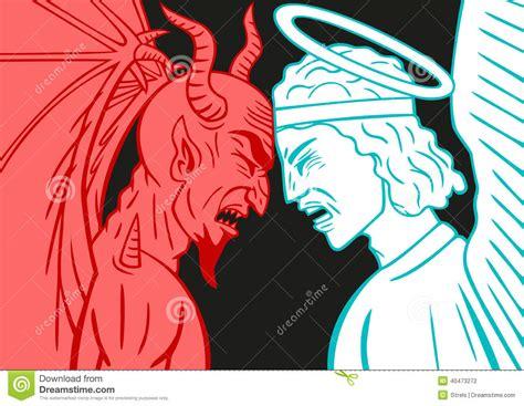 devil z vs archangel cartoons illustrations vector stock images