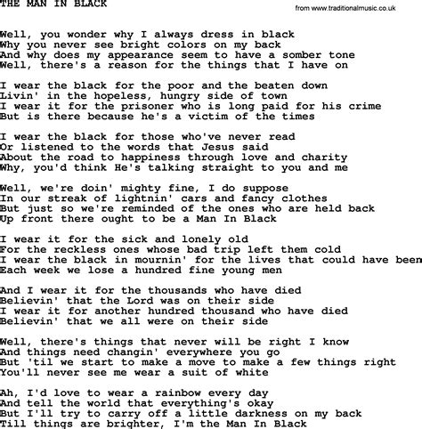 black lyrics johnny cash song the man in black lyrics