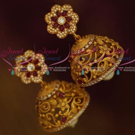 flower design earrings online j11761 floral design matte gold ruby white designer