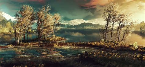 the witcher 3 wild hunt landscape geralt stands around and ponders his existence full hd
