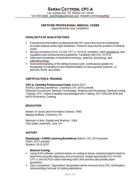 resume sample for a medical coder susan ireland resumes
