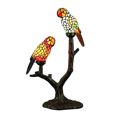 tiffany table lamp parrot lampshade european pastoral retro style glass bedroom living room dining room lamp lights