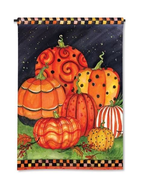 fall garden flags magnet works mail31216 painted pumpkins garden flag