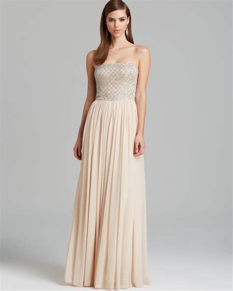 aidan mattox gown strapless beaded bodice with pleated