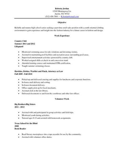 High School Senior Resume by Sle High School Senior Resume Resume Sle High
