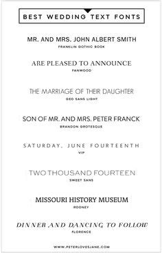 Wedding Font Block by Wedding Invitation Font Pairing Guide Modern Wedding