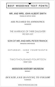 Wedding Invitation Font Pairing Guide { Modern   Wedding