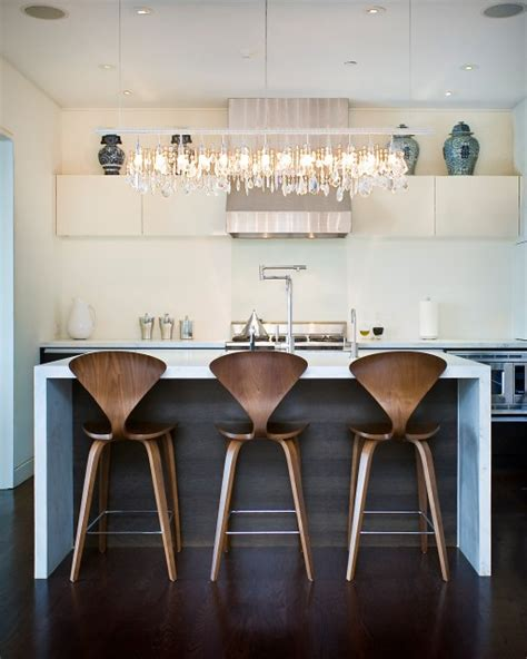 modern kitchen island stools linear strand crystal chandelier contemporary kitchen