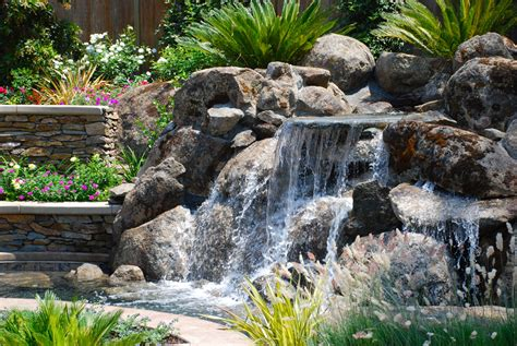 Rock Waterfalls For Landscaping Natural Rock Water Rock Features In Gardens
