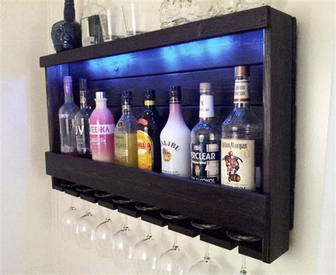 Lighted Bar Cabinet Wine Rack Rustic Liquor Cabinet With Optional By Cedaroaks