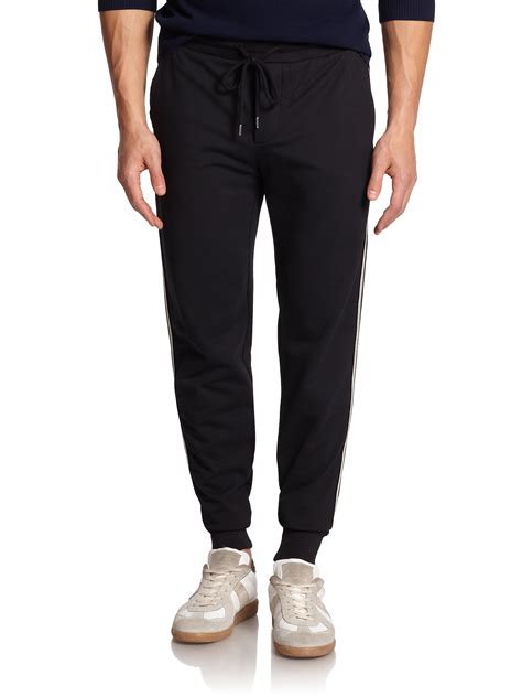 striped jogger sweatpants moncler striped jogger in black lyst