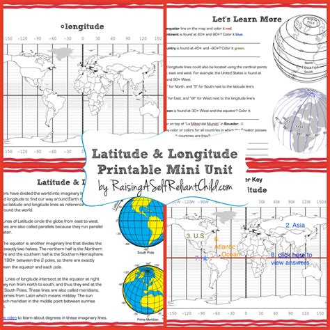 latitude doodle free printable mini unit latitude and longitude for