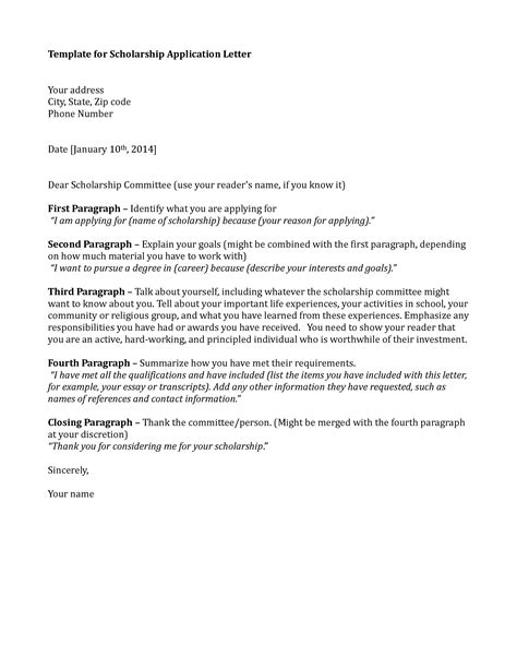 Scholarship Application Cover Letter Format Application Letter Sle Application Letter Sle Scholarship