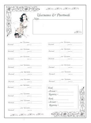 password journal template free username and password journal pages printables
