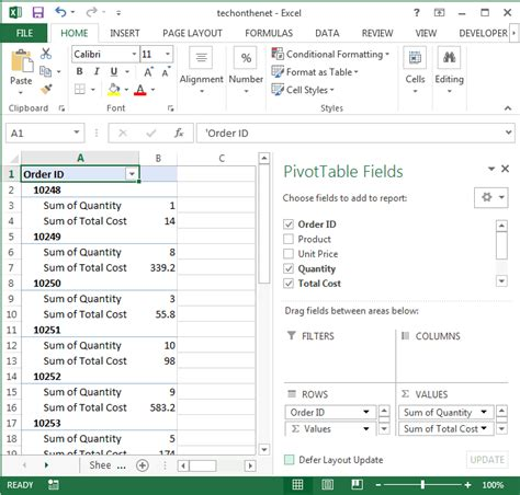 ms excel 2013 display the fields in the values section in