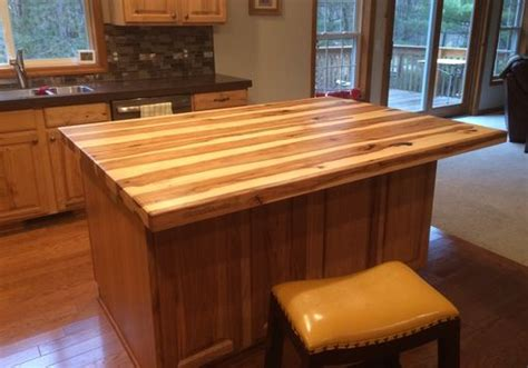 handmade solid hickory bar top island top  glessboards