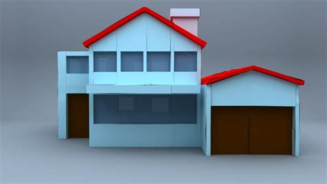 make a 3d house house paper rigged 3d model