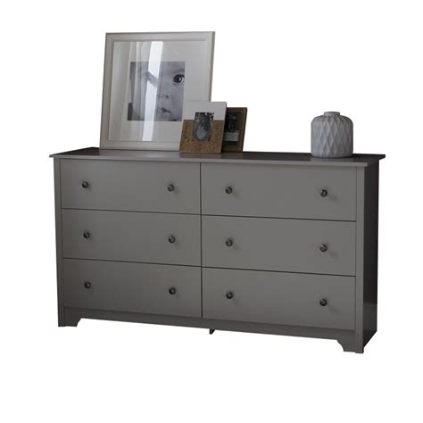 Gray Dresser by South Shore Vito 6 Drawer Dresser In Soft Gray