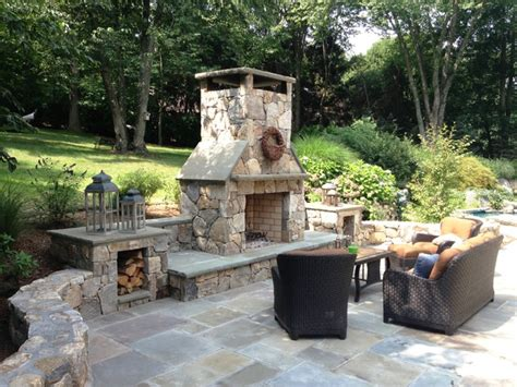 Patio Fireplace With Chimney Outdoor Entertainment Area Traditional Patio New