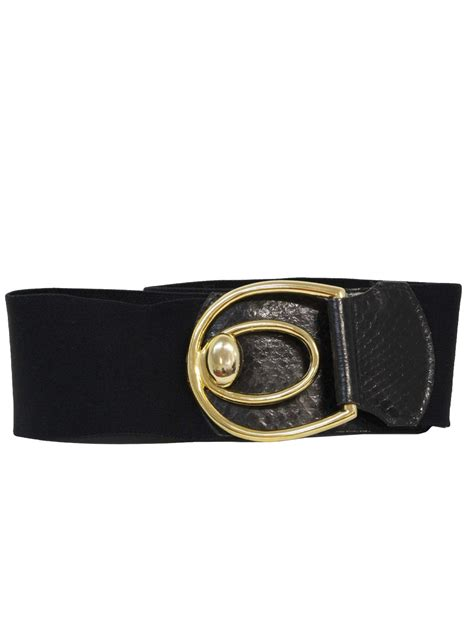 retro 1980s belt 80s leather shop womens black elastic